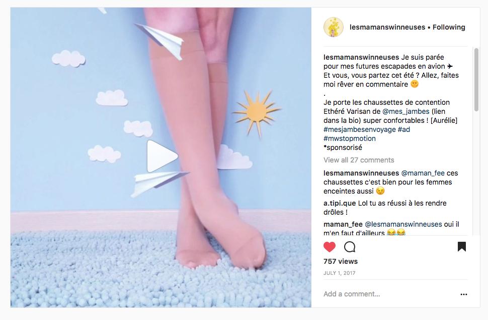 chaussette Varisan Ethéré sur Instagram